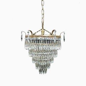 Italian Art Deco 5-Tier Crystal Glass Chandelier, 1930s