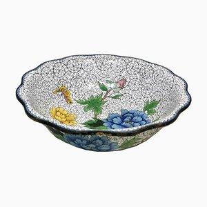 Cuenco chino cloisonné esmaltado con peonías azules y amarillas