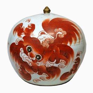 Pot de Gingembre Ronde Antique en Porcelaine de la Dynastie Qing avec Couvercle Peint avec Chien Foo