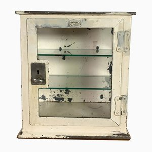 Vintage Industrial Steel and Glass Medicine Cabinet