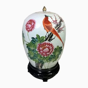Chinese Qing Dynasty Porcelain Vase with Lid and Hand-Painted Decoration, 1870s