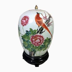 Jarrón chino de porcelana de la dinastía Qing con tapa y decoración pintada a mano