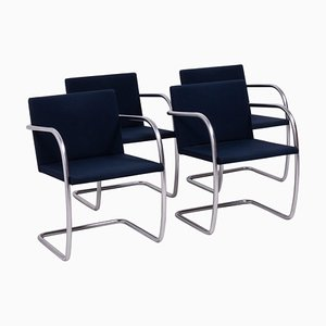 Brno Navy Fabric Dining Chairs by Ludwig Mies van der Rohe for Knoll, 2002, Set of 4