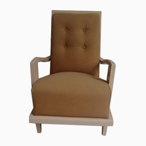 Art Deco Mustard Yellow Cavalry Wool & Beige Painted Wood Lounge Chair, 1940s