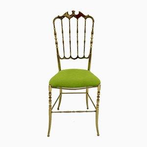 Vintage Brass Chiavari Side Chairs, 1950s, Set of 2