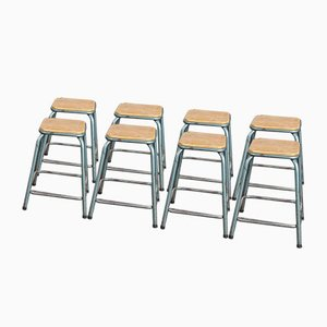 French Industrial Stacking High Stools from Mullca, 1950s, Set of 8