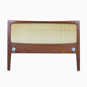 Teak & Rattan Headboard & Footboard, 1960s, Set of 2