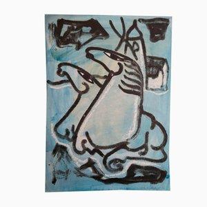 Aquarelle par VIbeke Alfelt, 1970s