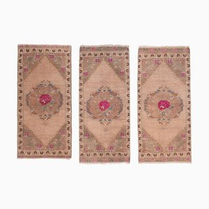 Small Turkish Muted Color Area Rugs, 1970s, Set of 3