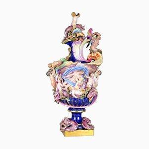Große deutsche Porzellan-Kanne aus 19. Jahrhundert