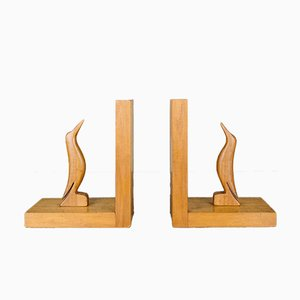 Vintage Wooden Bird Bookends, 1930s, Set of 2