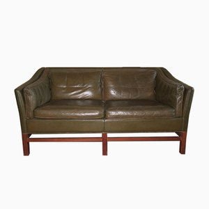 Mid-Century Danish 2-Seater Sofa in Dark Olive Green from Grant