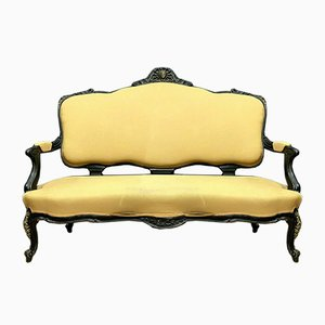 Napoleon III Black Lacquered Wood and Bronze Sofa