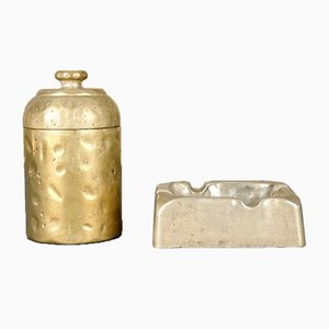 Mid-Century Brutalist Brass Smokers Set, Set of 2