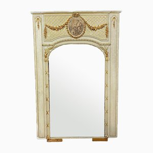 Louis XVI Lacquered Wood Mirror with Gold Decorations