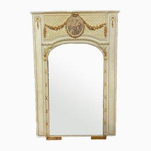 Miroir Louis XVI en Bois Laqué avec Décorations Dorées