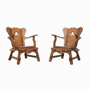 Brutalist Alsatian Oak Armchairs from Oisterwijk, 1950s, Set of 2
