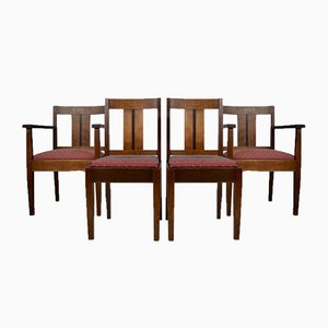 Art Deco Amsterdam School Dining Chairs, 1930s, Set of 4