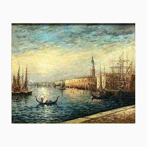 Venedig Sonnenaufgang am Kanal Gemälde von Robert Mogisse, 1930er