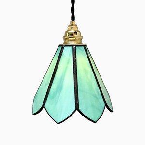 Lampe à Suspension en Pâte de Verre Vert & Etain, 1960s