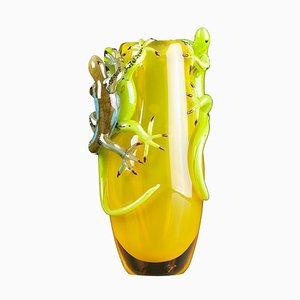Gelbe Große Glasvase mit 3 Geckos von VG Design & Laboratory Department