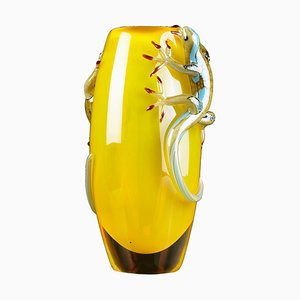 Yellow Big Glass Vase with 2 Geckos by VG Design and Laboratory Department