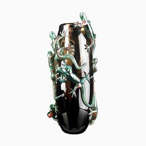 Braune Große Glasvase mit 8 Geckos von VG Design & Laboratory Department