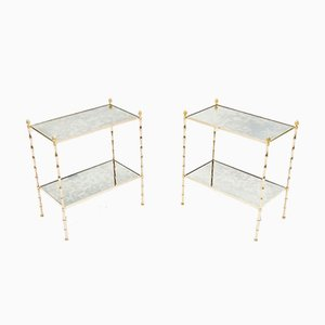 Bamboo, Brass & Mirror Side Tables from Maison Baguès, 1960s, Set of 2