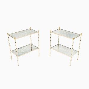 Tables d'Appoint en Bambou, Laiton & Miroir de Maison Baguès, 1960s, Set de 2