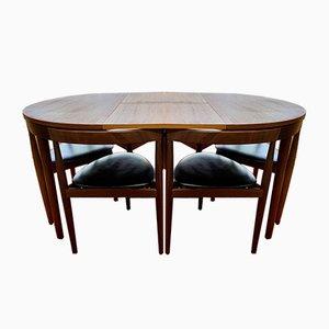 Dänischer Mid-Century Roundette Esstisch & Stühle von Hans Olsen für Frem Røjle, 1960er, 7er Set