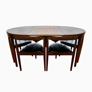 Mid-Century Danish Roundette Dining Table & Chairs Set by Hans Olsen for Frem Røjle, 1960s, Set of 7