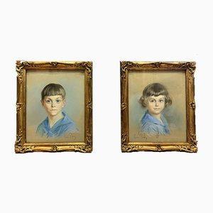 Antique Portrait of a Brother & Sister by René-Louis Pean, Set of 2