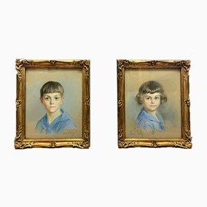 Ritratto antico di fratello e sorella di René-Louis Pean, set di 2