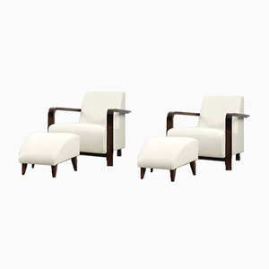 Italian Art Deco Geometric Leather & Walnut Armchair with Ottoman, 1970s, Set of 2