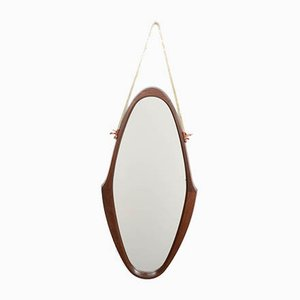 Oval Wall Mirror with Teak Frame & Nylon Rope