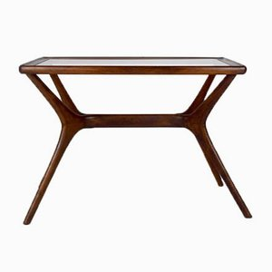 Mid-Century Modern Coffee Table in Massive Wood & Glass, Italy, 1950s