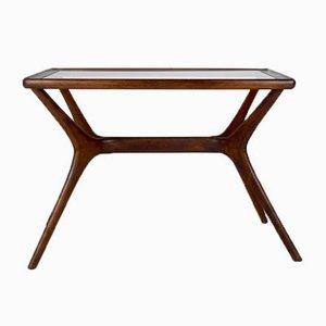 Table Basse Mid-Century Moderne en Bois Massif & Verre, Italie, 1950s