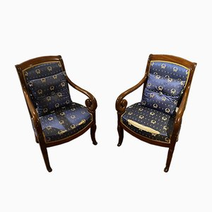 Restoration Mahogany Armchairs, Set of 2