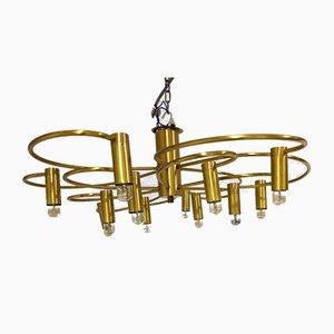 Vintage Brass Flush Mount Chandelier, 1970s