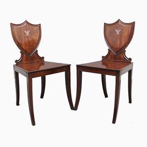 19th-Century Mahogany Hall Chairs, Set of 2