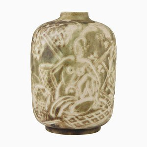 Autumn Art Deco Ceramic Vase with Nudes in an Orchard by Gaston Ventrillon for Mougin, 1930s