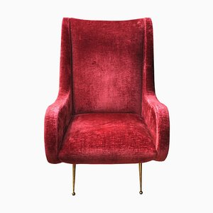 Burgundy Velvet & Metal Feet Armchair, 1960s