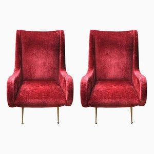 Dunkelroter Sessel aus Samt & Metall, 1960er