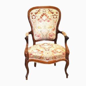 Antiker Walnuss Armlehnstuhl, 1800er
