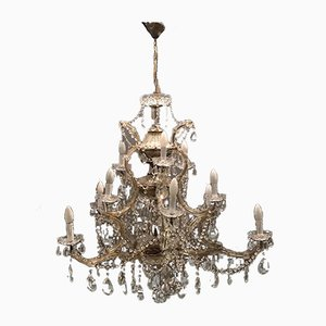 Large Italian Crystal Murano Chandelier, 1950s