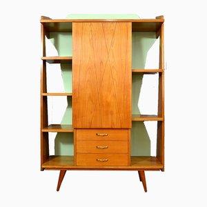 Italian Beech Wall Bookcase Cabinet, 1950s