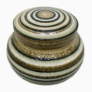 Olla Art danesa de cerámica esmaltada con cubierta de gres de Søholm, años 60