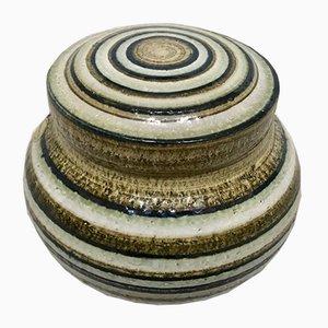 Vaso Art in ceramica smaltata con coperchio di Søholm Stoneware, Danimarca, anni '60