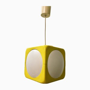Space Age Model Dice Ceiling Lamp in Yellow by Lars Schöler for Hoyrup Lamper, 1970s