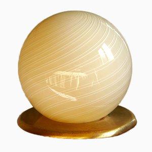 Vintage Crema Swirl Murano Sphere Lamp, Italy, 1970s